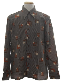 1970's Mens Designer Geometric Print Disco Shirt*