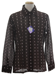 1970's Mens Designer Lace Print Disco Shirt*