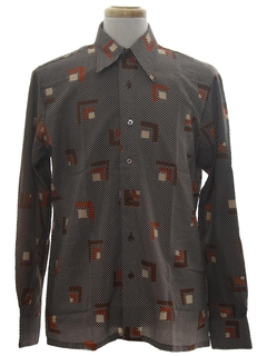 1970's Mens Designer Geometric Art Print Disco Shirt*