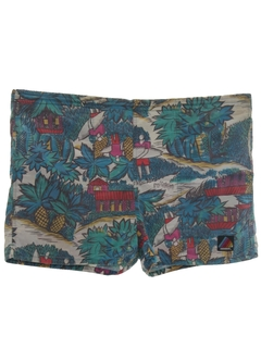 1980's Mens Totally 80s Hawaiian Surf Shorts