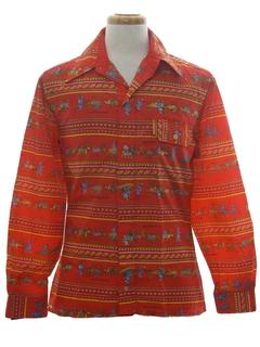 1970's Mens Print Disco Ski Style Shirt