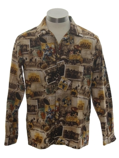 1960's Mens or Boys Photo Print Sport Shirt