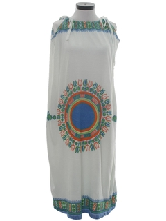 1970's Womens Maxi Hippie Style Terry Cloth Dress