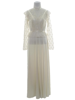 1970's Womens Hippie Prairie Wedding Style Prairie Maxi Dress