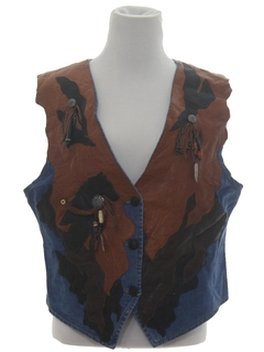 1990's Womens Western Style Leather Denim Vest