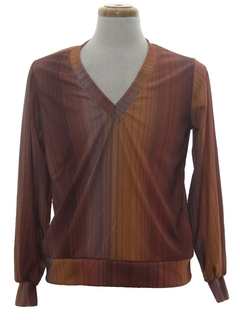 1970's Mens Mod Print Disco Style Pullover Shirt