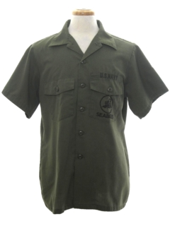 1960's Mens Navy Seabees Military Shirt