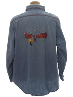 1970's Mens Hippie Embroidered Chambray Shirt