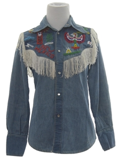 1960's Womens/Girls Western Style Denim Fringed Hippie Shirt