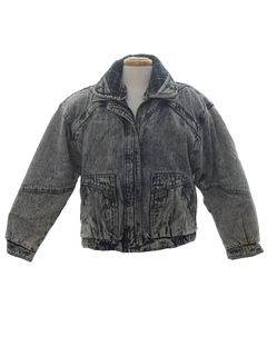 1980's Mens Totally 80s Acid Washed Denim Coat Jacket