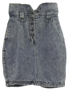 1990's Womens Wicked 90s Acid Wash Denim Skirt
