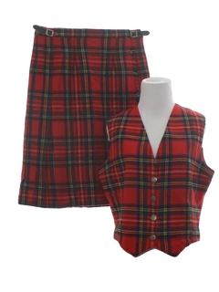 1970's Womens Wool Kilt Suit