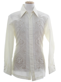 1980's Mens Filipino Baro Wedding Shirt