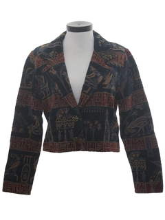 1980's Womens Egyptian Print Coat Jacket