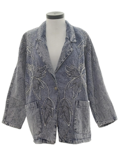 1980's Womens Totally 80s Acid Wash Denim Jacket Coat