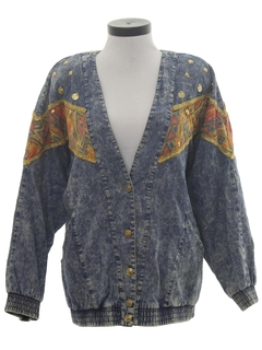 1980's Mens Totally 80s Acid Wash Denim Jacket Coat