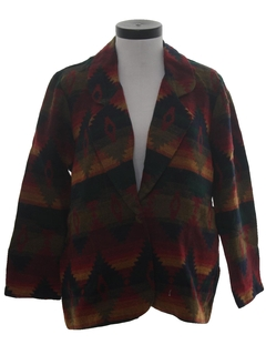 1980's Womens Totally 80s Southwestern Blazer Coat Jacket