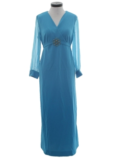 1970's Womens Knit Prom Or Cocktail Dress