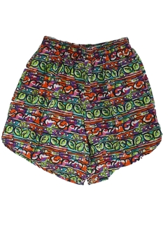 1980's Womens Totally 80s Print Baggy Pants Style Shorts