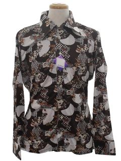 1970's Mens Designer Shiny Nylon Print Disco Shirt*