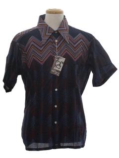 1970's Mens Designer Geometric Disco Style Print Shirt*