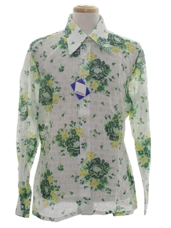 1970's Mens Lace Print Disco Shirt*
