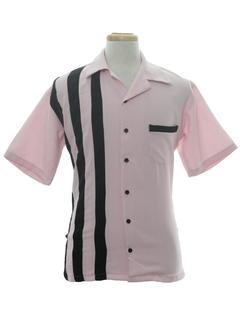 1950's Mens Mod Gabardine Bowling Shirt