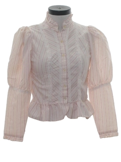 1980's Womens Prarie Style Ruffled Shirt
