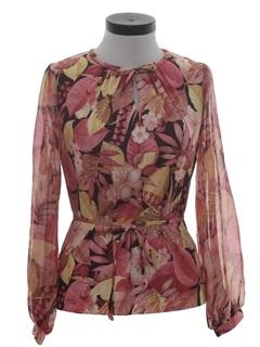 1970's Womens Floral Print Hippie Shirt