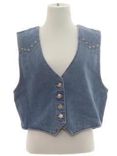 1980's Womens Western Style Denim Vest