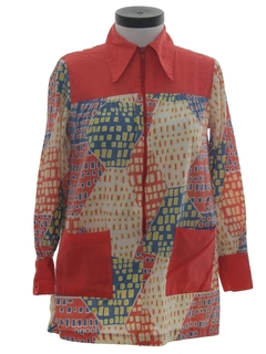 1970's Womens Mod Hippie Smock Shirt