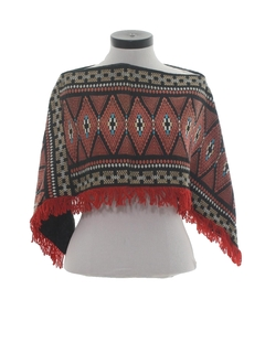 1980's Womens Hippie Poncho Jacket