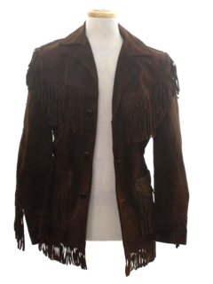 1950's Mens Suede Fringed Hippie Coat Jacket