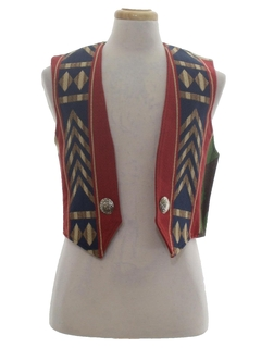 1980's Womens Southwestern Style Equestrian Vest