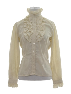 1980's Womens Frilly Ruffled Secretary Shirt