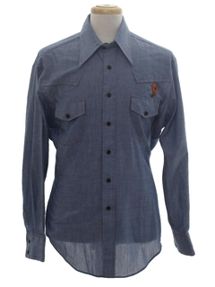 1970's Mens Chambray Hippie Westenr Shirt