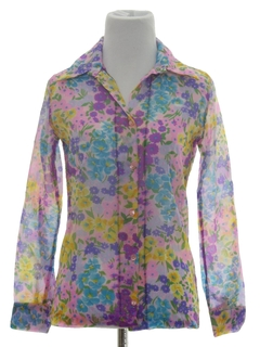 1970's Womens or Girls Mod Pow-Flower Shirt