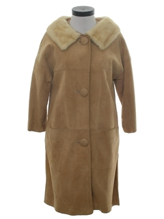 1970's Womens Suede Leather Duster Coat Jacket