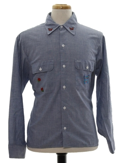 1980's Unisex Hippie Chambray Shirt