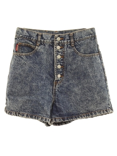 1980's Womens Totally 80s Acid Washed Denim Jean Shorts