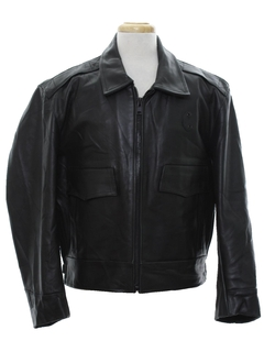 1980's Mens Leather Police Motorcycle Style Jacket