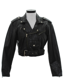 1980's Womens Totally 80s Leather Motorcycle Jacket