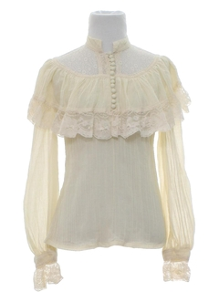 1980's Womens Ruffled Hippie Shirt