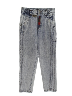 1980's Mens Acid Washed Baggy Tapered Leg Denim Jeans Pants