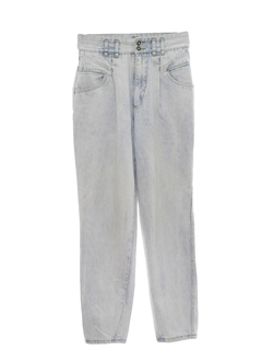 1980's Mens Acid Washed Tapered Leg Denim Jeans Pants