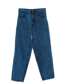 1980's Womens Acid Washed Straight Leg Denim Jeans Pants
