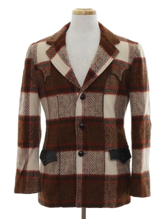 1960's Mens Western Style Wool Coat Jacket