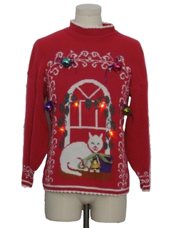1980's Womens Red Lightup Cat-Tastic Hand Embellished Ugly Christmas Vintage Sweater