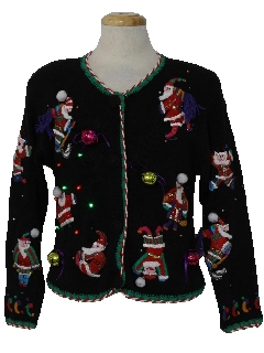 1980's Womens Multicolor Lightup Hand Embellished Ugly Christmas Sweater