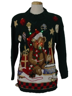 1990's Unisex Multicolor Lightup Bear-iffic Hand Embellished Ugly Christmas Vintage Sweater